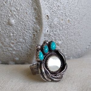 Native American Sterling Bear paw turquoise ring